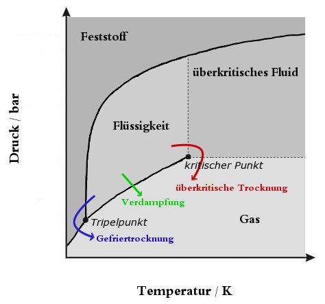 Phasendiagramm Gefriertrocknung